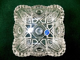Imperial Square Glass Dish, Vintage 1982 Mark, Starbursts & Lines, Sawtooth Rim - $24.45