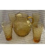 4 Vintage Anchor Hocking Amber Gold Lido Milano Tumbler Pitcher Bumpy 14... - $46.52