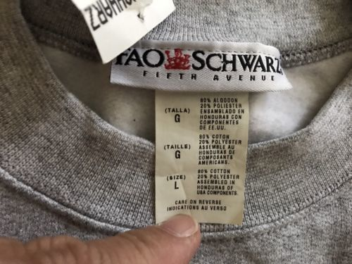 FAO Schwarz Collectible Sweatshirt Gray Crew Pullover Unisex Large Rare NWT