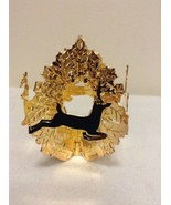 "Danbury Mint - 1990 Gold Christmas Ornament -  ""Wreath with Deer"" (B12) - $13.95"