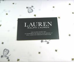 Ralph Lauren Bumblebees, Hives, Flowers on White Sheet Set Queen - $94.00