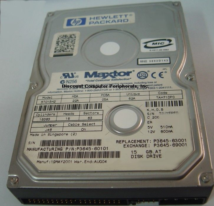 Maxtor 5T015H2 15GB 3.5in IDE 40 pin Hard Drive Tested Good Free USA Shipping