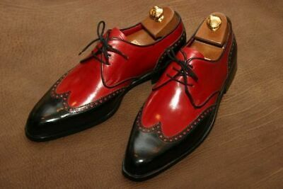 Handmade Men's Wing Tip Red and Black Lace Up Dress/Formal Leather Oxford Shoes