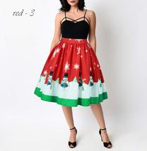 RED Christmas Print  A-line Swing Skirt Women High Waist Knee Length Flare Skirt image 9