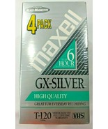 Maxell 4 Pack 6 Hours Standard Grade T-120 VHS Blank Tape Sealed Videoca... - $22.13