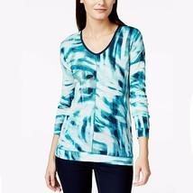 NWT Calvin Klein Enamel Blue Downtown Printed V-Neck Knit Top Long Sleev... - $14.84