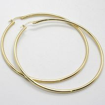18K YELLOW GOLD ROUND CIRCLE EARRINGS DIAMETER 60 MM, WIDTH 2 MM, MADE IN ITALY image 3