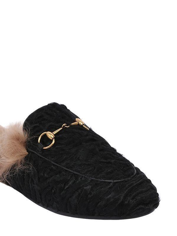 f7bd6f08c47 ... Gucci 10mm Princetown Astrakhan Fur Black  1990 Mules Size 38.5 New