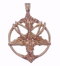 NICE Satan Goat Baphomet occult Pentagram Devil Rose Gold Pltd Sterling silver C - $80.12