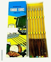 Vintage Made in Japan Fondue Forks In Box 6 Mid-Century Modern w/ Wood H... - $12.99