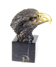 Antique Home Decor Bronze Sculpture shows Eagle Head, signed *Free Air Shipping  - $199.00