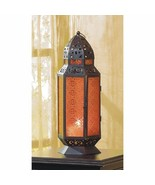 """Moroccan Style Candle Lantern w/ Amber Pressed Glass Tall 19"""" High - $32.95"""