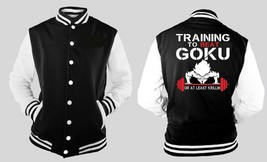 Training To Meet Goku Letterman Varsity Baseball Fleece Jacket - $28.99