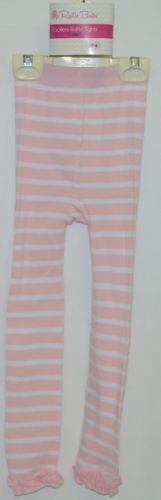 RuffleButts RLKP14TWS00 Light Pink Stripe Ruffle Tights Size 4T to 6