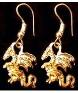 LOOK 24kt Gold Plated Medieval Times Fire Dragon Earrings Jewelry New - $29.41