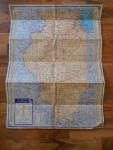 Old Vintage Illinois & Great Lakes States Map Pure Oil Home Wall Decor G... - $9.99