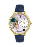 December Birthstone Watch with Swarovski Crystals in Gold (Unisex) - Nav... - $45.00