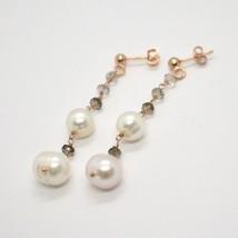 Tropfen Ohrringe aus 925 Silber Laminat aus Gold Pink mit Perlen und Rauchquarz image 1