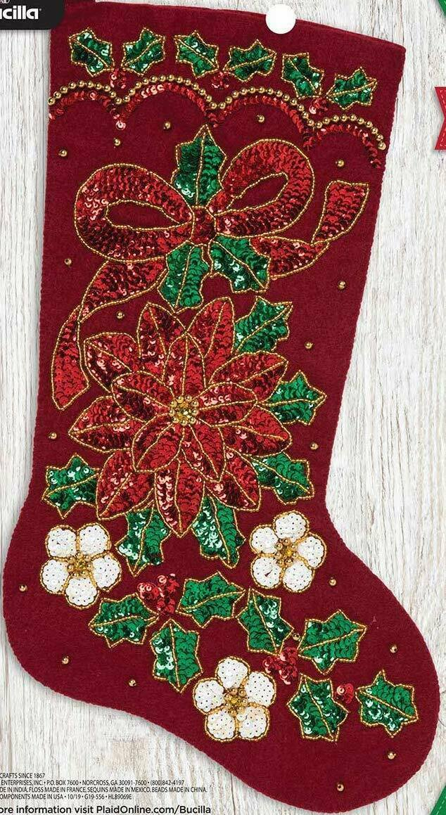 Primary image for Bucilla Glitzy Poinsettia Christmas Flower Holiday Ivy Felt Stocking Kit 89069E