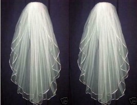 New Light Ivory Wedding Bridal veil elbow Length Sm Satin Edge with comb - $7.50