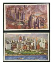 Chicago Illinois 2 Aerial views City of Towers Michigan Blvd Vintage Postcards - $6.69