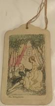 vintage Tally Card Woman In Yellow Dress With Friend - $14.84