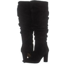 Franco Sarto Artesia Pointed Toe Slouch Knee High Boots 324, Black Suede, 5.5 US - $71.03