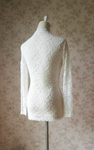 Women Retro Mock Neck Long Sleeve Floral Lace Blouse Wedding Bridesmaid Blouse image 4