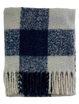 Pendleton Blue & White Plaid soft plush  fringed throw blanket  50 x 70 - $92.08