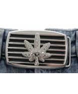Herren Damen Silber Schwarz Metall Gürtelschnalle Groß Marihuana Blatt A... - $24.47