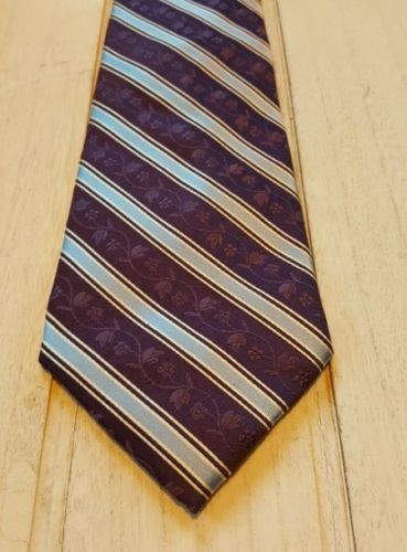 95c6c5a6b01c 12. 12. Bugatti Men's Purple Flowers Striped White 100% Silk Necktie Tie
