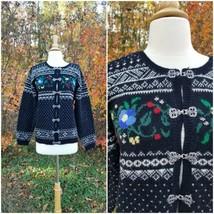 Vintage Talbots women wool knit fair isle clasp clousure sweater cardigan L - $47.52