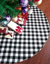 Vanteriam 48 Inches Christmas Tree Skirt Double Layers Black and White P... - $30.25