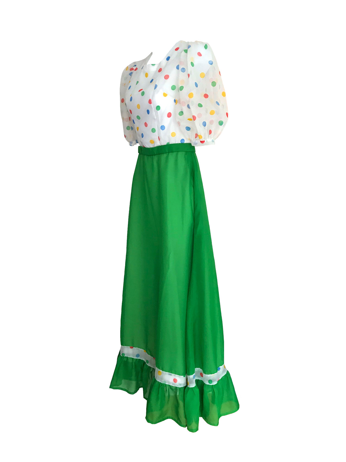 60s-70s Sheer Chiffon Rainbow Polka Dot Kelly Green Ruffle Skirt Boho Folk Dress image 6