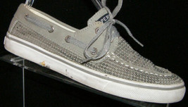 Sperry Top sider Bahama two-eyelet gray sequined boat moc loafer shoe 4M - $25.20