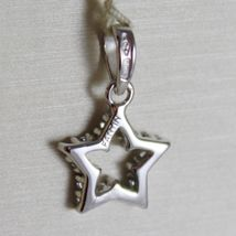 18K WHITE GOLD MINI STAR PENDANT, LENGTH 0.63 INCHES, ZIRCONIA, MADE IN ITALY  image 3