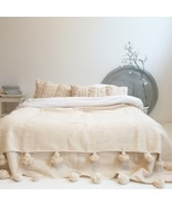 Moroccan wool pom pom blanket throw, 100% pure natural wool hand woven  - $152.31