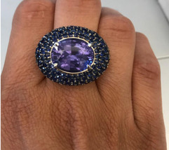 925 Sterling Silver Natural A+ Quality Amethyst And Blue Sapphire Gemstone Handc image 1