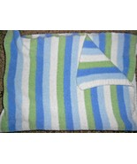 Carters Just One Year Baby Blanket Chenille Stripe Blue White Green Comf... - $37.50