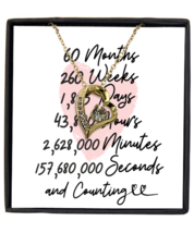 5th Anniversary Message Card Necklace, 5 Year and Counting Anniversary  - £21.77 GBP