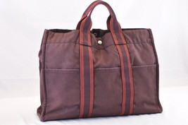 9c22beabf9 HERMES Fourre Tout MM Tote Bag Wine Red Cotton Auth 6486 - $130.00