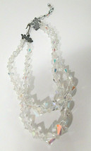 Vintage AB Crystal Double Strand Necklace Choker with Metal Crown Settings - $27.00