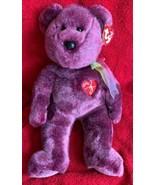 "Vintage Ty Beanie Buddy 2000 Signature Bear Purple 14"" Plush Soft Toy MWMTs - $9.89"