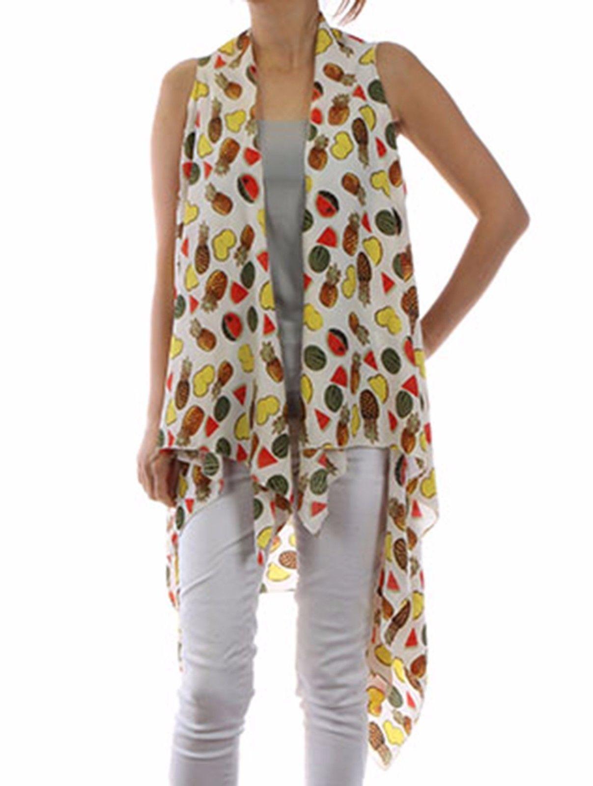 Tropical Fruit Print Cover Up Vest Beach Swim Suit Wrap White