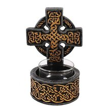 Medieval Celtic Cross Candle Holder Figurine Made of Polyresin - $18.99