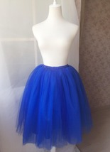Midi Tulle Tutu Skirt 4 Layered Midi Tulle  Skirt Royal Blue Plus Size image 3