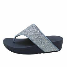 FitFlop Olive Glitter Porcelain Blue Women's Toe Post Wedge Sandal DO3-863 - $64.00