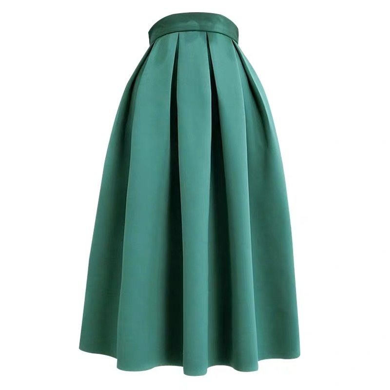 Emerald Green Midi Holiday Skirt Outfit Women Pleated Midi Skirt with Pockets