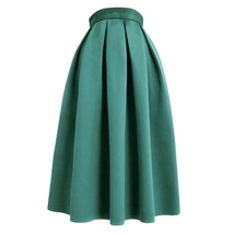 Emerald Green Midi Holiday Skirt Outfit Women Pleated Midi Skirt with Pockets image 1
