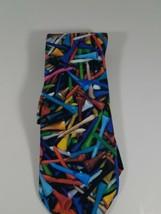 Ralph Marlin Golf Tee Colorful Tie Necktie Polyester golfer 1994 Vintage - $13.76